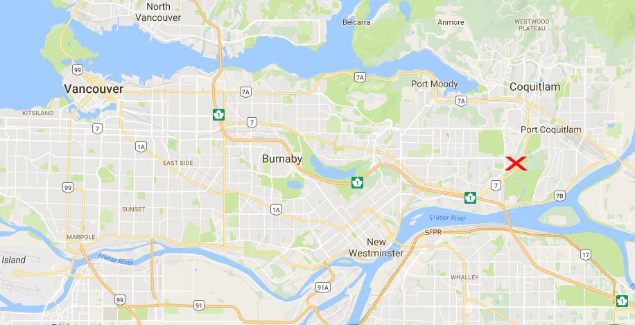 Bild zeigt die Karte mit dem Riverview Hospital