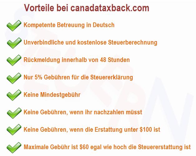 Bild zeigt die Vorteile von canadataxback