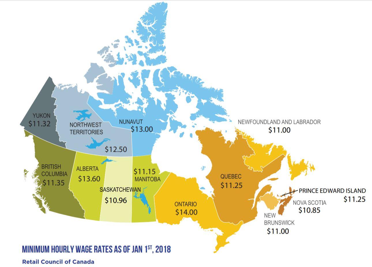 Mindestlohn Kanada Jan 2018