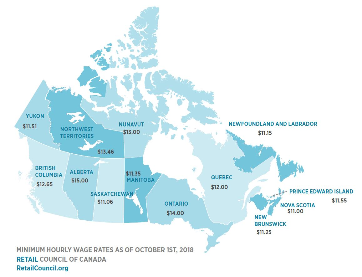 Mindestlohn Kanada Stand Oct 2018