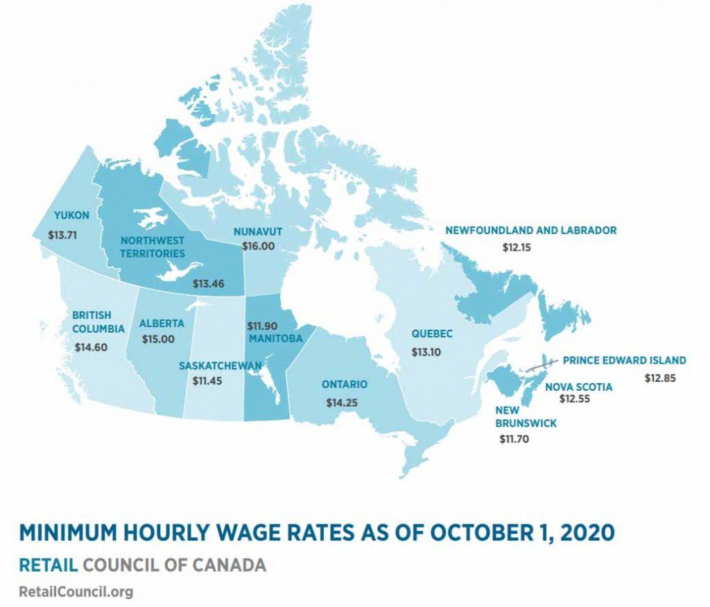 Mindestlohn Kanada Oktober 2020