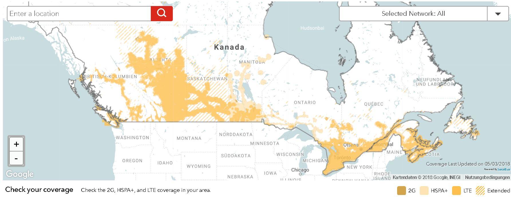 Netzabdeckung von Rogers Kanada