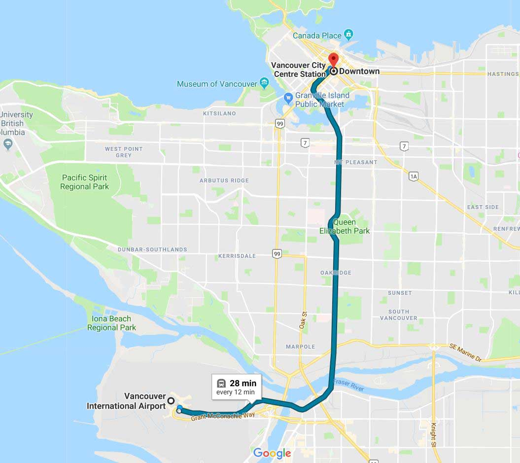 Google Maps Vancouver Airport to Downtown