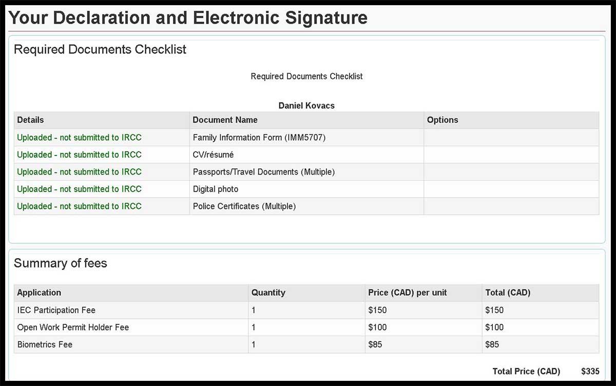 Uebersicht IEC Zahlung inklusive Biometrics Fee
