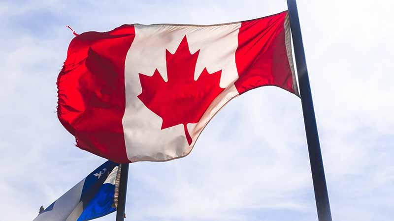 Nationalflagge und Sympbol von Kanada