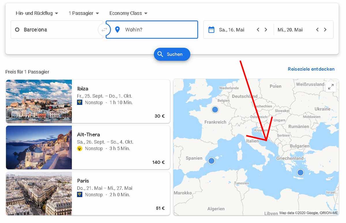 Google Flights auf Karte klicken
