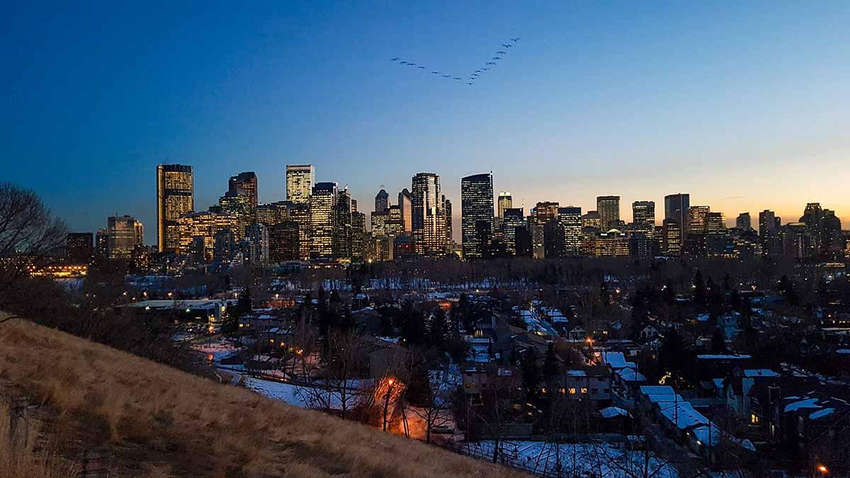 Sonnenuntergang Downtown Calgary in Kanada