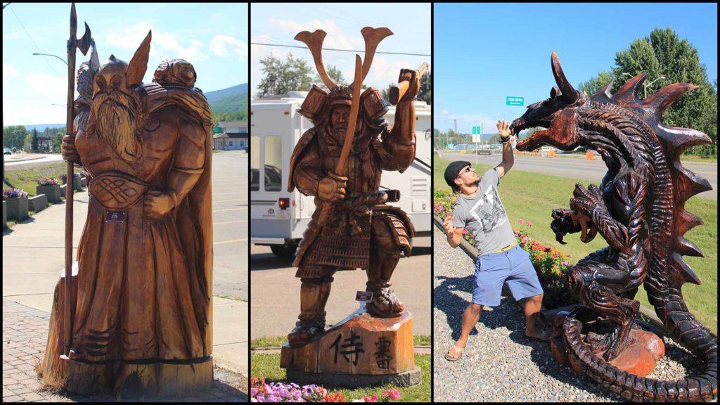 Holzfiguren aus Chetwynd in Kanada